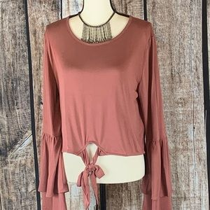 Honeyb_pm Fall Tie Front Top NWT